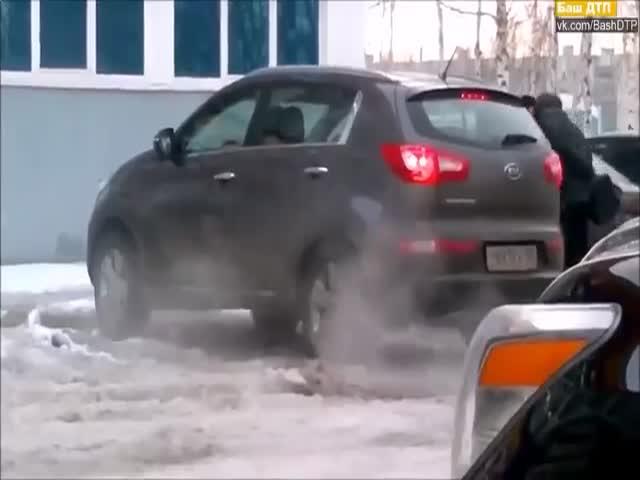 Что бывает, когда забываешь снять машину с ручника