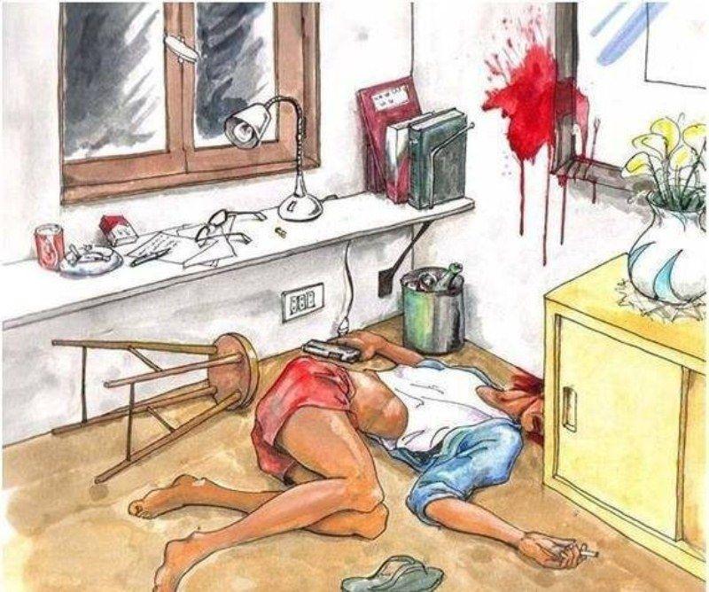 Что изображено на этой картинке: убийство или самоубийство? (фото)