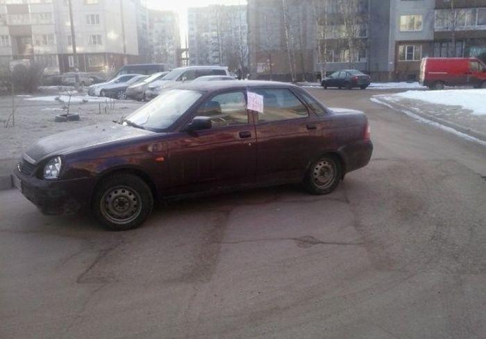 Что бывает, когда паркуешься не так, как нужно (3 фото)