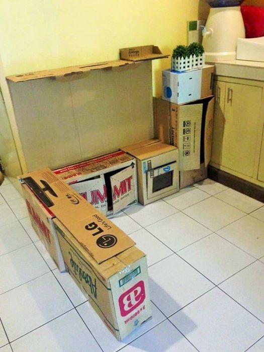 Картонная кухня для ребенка (9 фото)