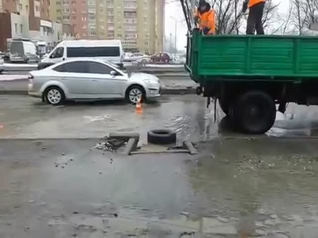 Ремонт дороги в Рязани