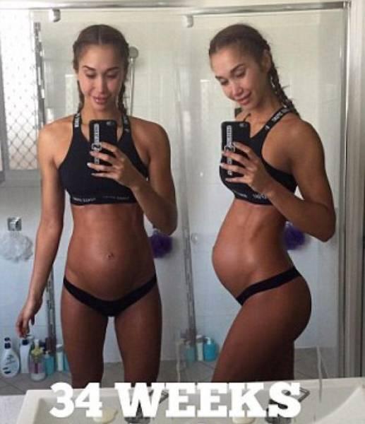 Австралийская фитнес-модель продолжает заниматься спортом на 8-м месяце беременности (20 фото)