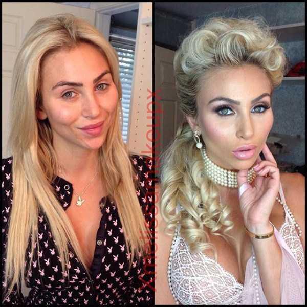 Модели Playboy с макияжем и без (18 фото)