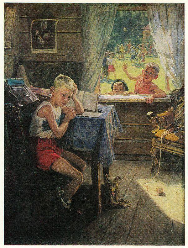 Оказывается, картина «Опять двойка» является лишь частью художественного триптиха Федора Решетникова (3 фото)