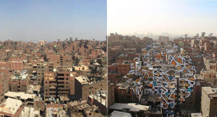 На стенах 50 домов Каира появился гигантский граффити-пазл (6 фото + видео)