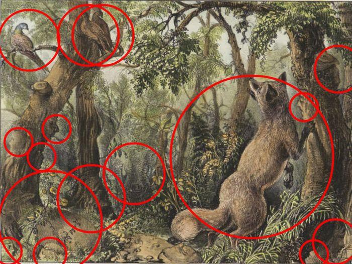 Найдите всех животных и все лица на этой картине (2 фото)