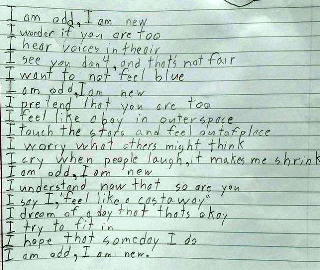 Стихотворение ребенка с синдромом Аспергера покорило пользователей сети (2 фото)