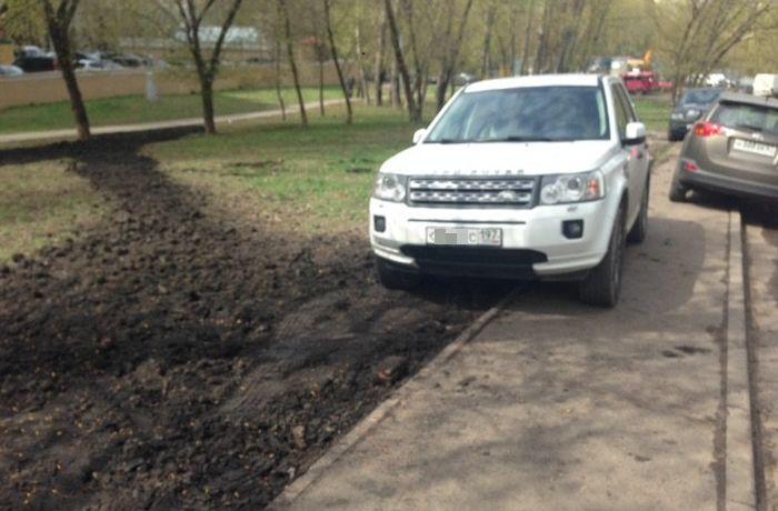 Наказание за парковку на газоне (2 фото)