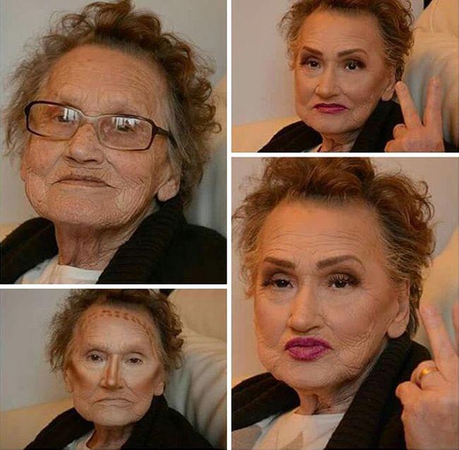 Макияж позволил 80-летней бабушке помолодеть на 20 лет (5 фото)