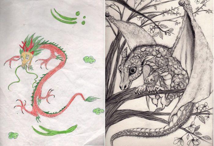Рисунки одних и тех же художников с разницей в несколько лет (25 фото)