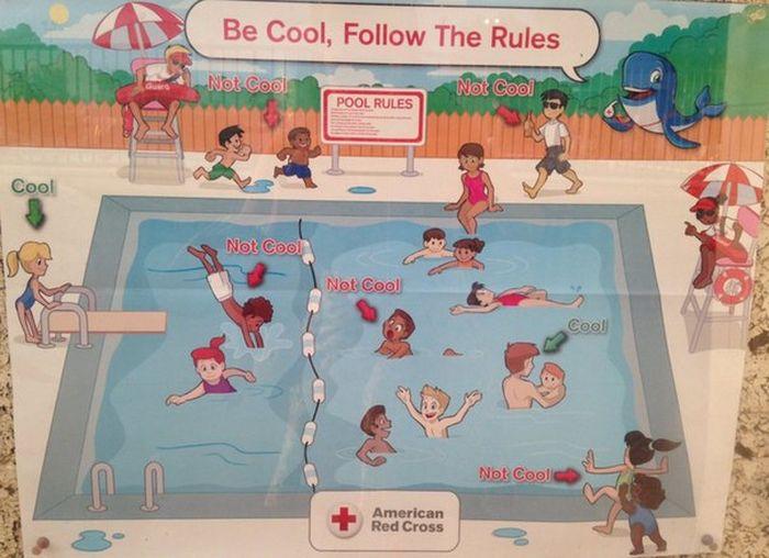 Красному Кресту пришлось извиняться за расистские плакаты с правилами поведения в бассейне (3 фото)