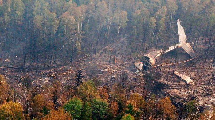 В Иркутской области разбился самолет Ил-76 МЧС России (4 фото)