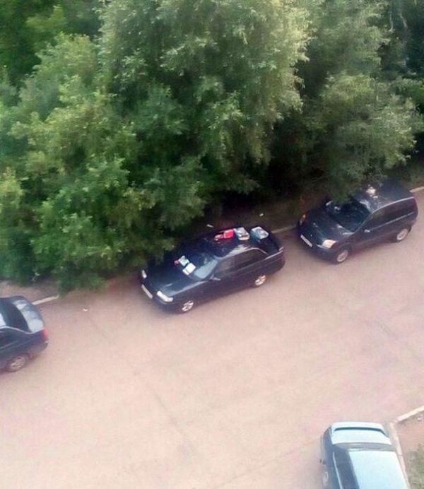 Нравоучение автомобилисту от заботливых соседей (4 фото)