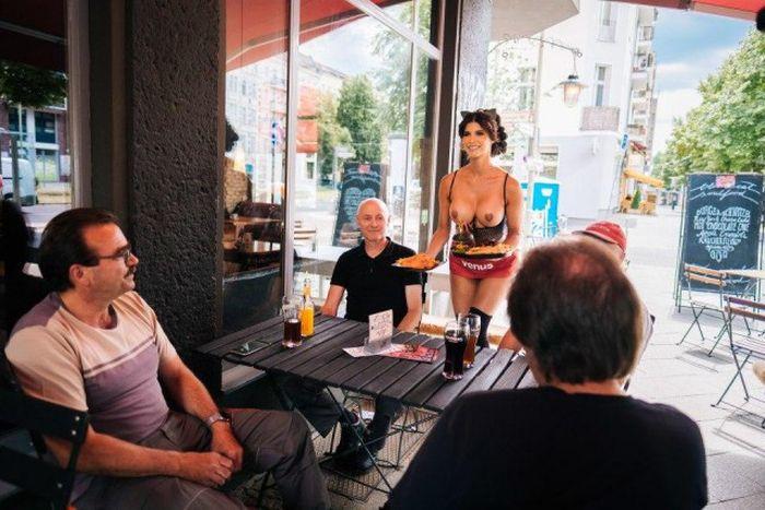 Эротическая модель Микаэла Шафер поработал официанткой. НЮ (7 фото)