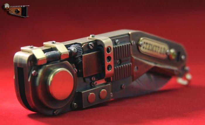 Электромеханический раскладной нож в стиле стимпанк (27 фото + видео)