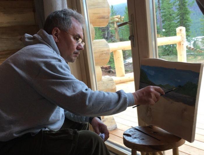 Сергей Шойгу рисует пейзаж (4 фото)