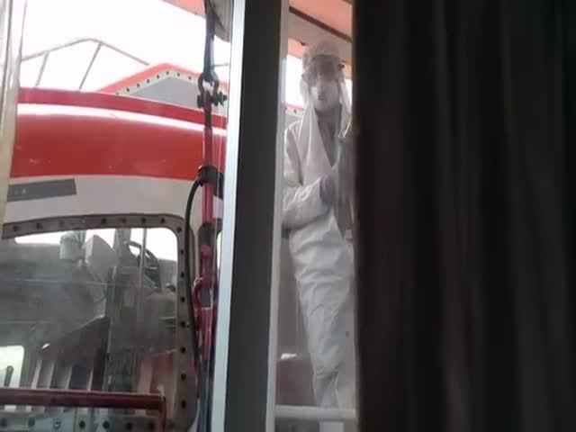 Молодожены вынуждены наблюдать ремонтные работы их окна каюты