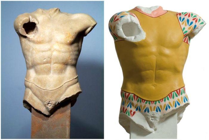 Какими на самом деле были античные скульптуры (9 фото)