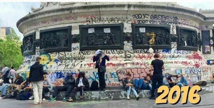 Вандалы изуродовали монумент на Площади Республики в Париже (2 фото)