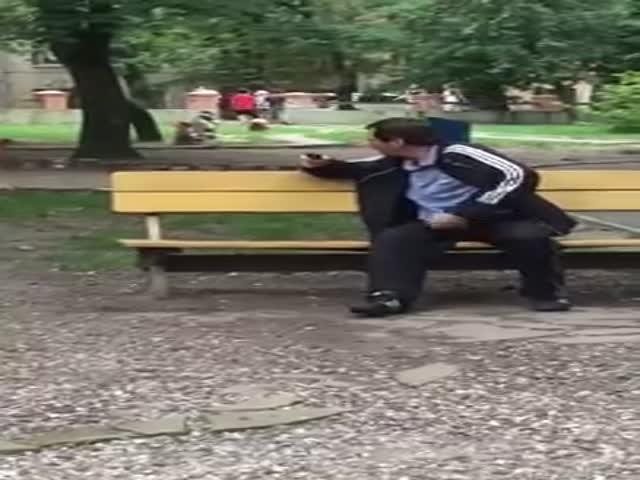 Парень убрал пьяного мужчину с детской площадки
