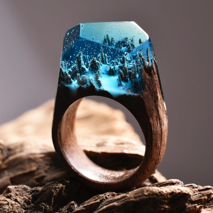 Оригинальные кольца из дерева (14 фото)