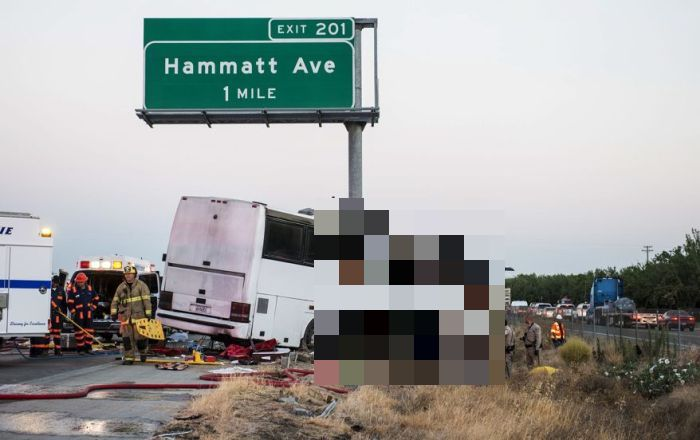 В Калифорнии пассажирский автобус въехал в столб (4 фото)