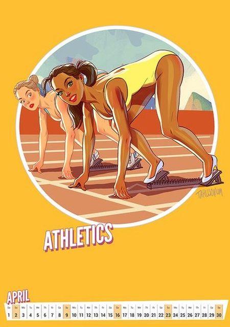 Олимпийский календарь в стиле пин-ап от Андрея Тарусова (12 рисунков)