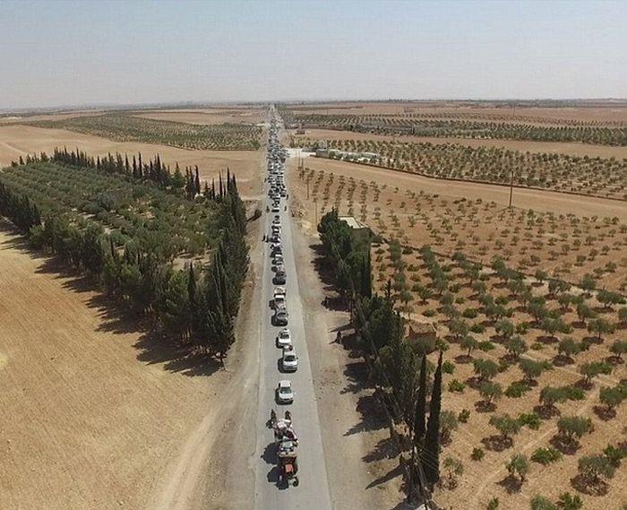 Боевики ИГИЛ покинули город Манбидж под прикрытием «живого щита» (3 фото)
