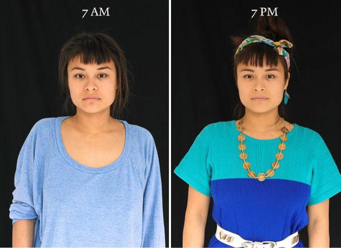 Как мы выглядим в 7 утра и 7 вечера (16 фото)