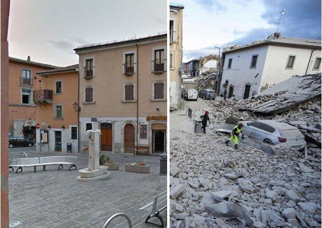 Итальянские города до и после разрушительного землетрясения (16 фото)