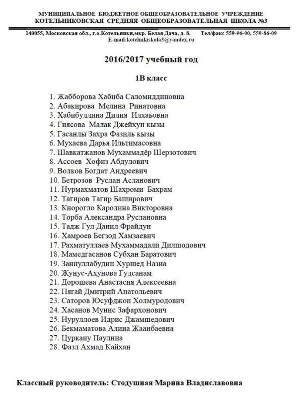 Пользователи сети возмутились списком учеников школы в Котельниках (2 фото)