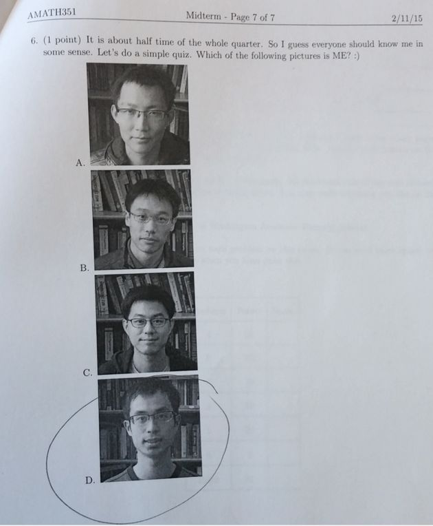 Преподаватель включил в тест по математике вопрос на знание своего лица (фото)