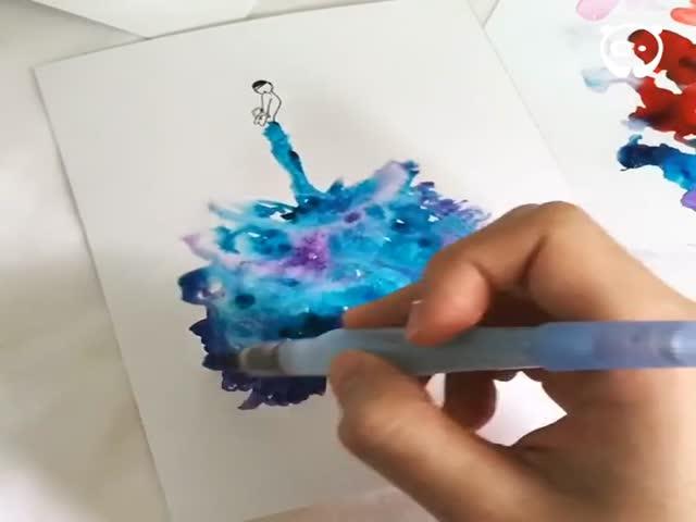 Художник рисует великолепные платья с помощью акварели