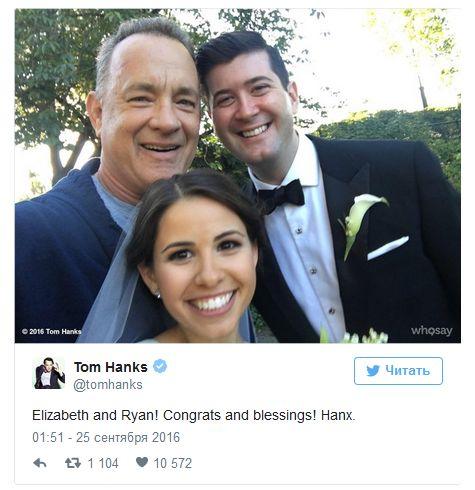 Том Хэнкс оказался на свадебных снимках молодоженов (5 фото)