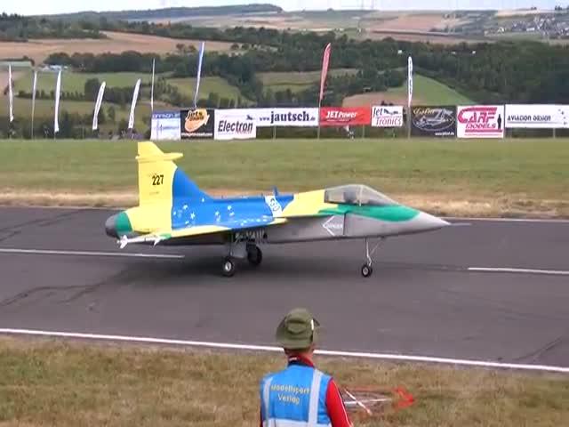 Гигантская модель самолета развалилась в воздухе