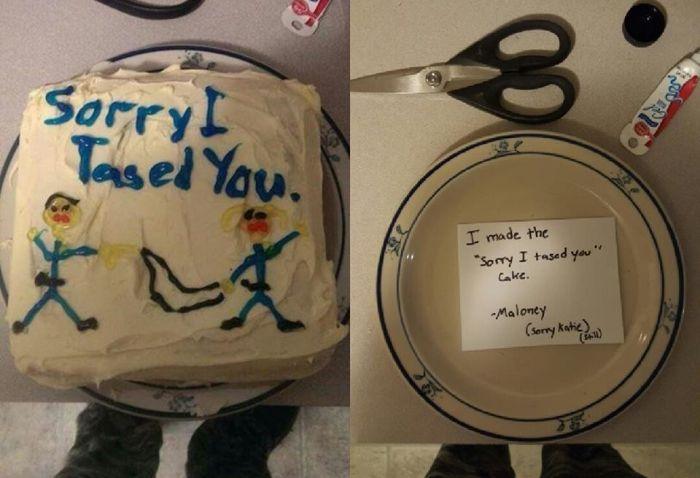 Полицейский извинился перед подстреленной им коллегой с помощью торта (3 фото)
