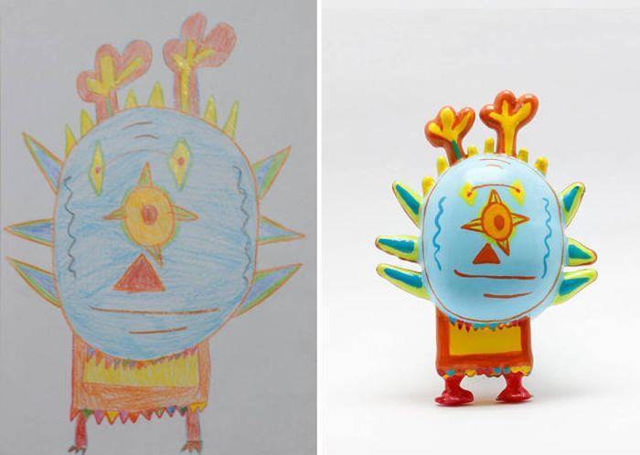 Игрушки, напечатанные на 3D-принтере по мотивам детских рисунков (27 фото)