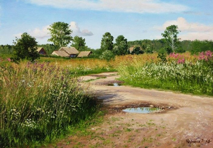 Деревенские пейзажи Татьяны Черных (14 фото)
