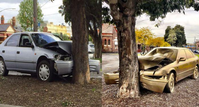 В Австралии врезавшийся в дерево автомобиль превратили в арт-объект (4 фото)