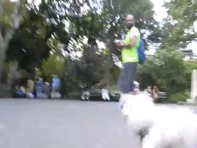 Кукловод вывел свою куклу на прогулку в парк