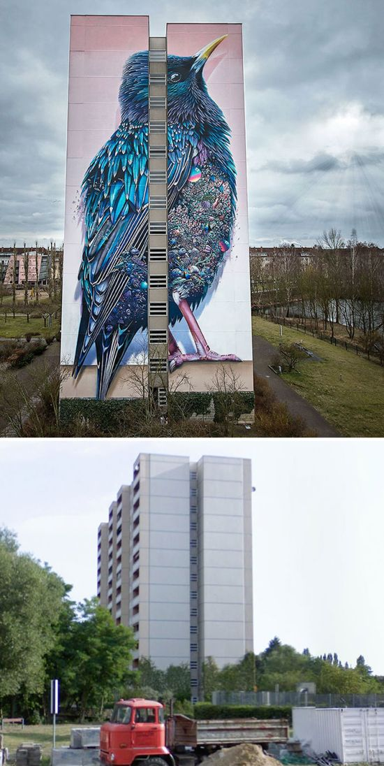 Как уличные художники преображают здания (23 фото)