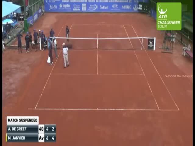В Марокко подожгли теннисный корт, чтобы высушить его