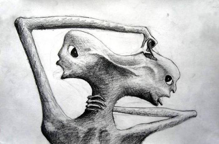 Рисунки людей, страдающих шизофренией (16 рисунков)