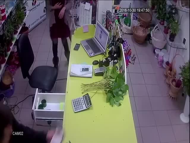 Быстрое ограбление цветочного магазина