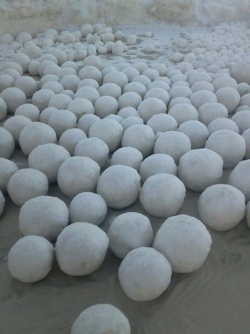 Ледяные шары на берегу Оби (5 фото)