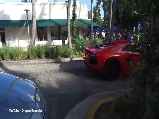 Суперкар Lamborghini едва не сгорел