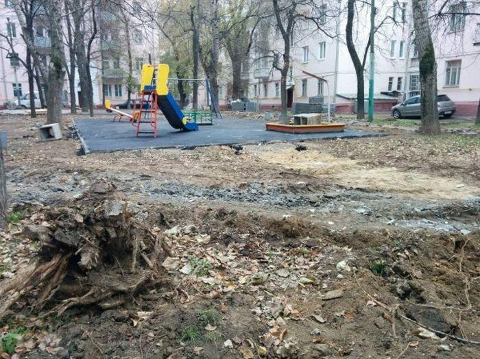 Благоустройство детской площадки во дворе жилого дома (6 фото)