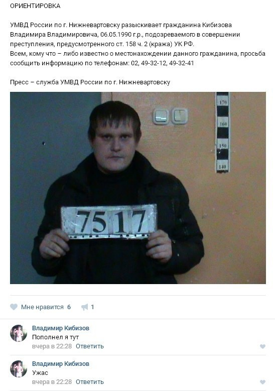 Подозреваемого в краже задержали благодаря его недовольному комментарию под ориентировкой