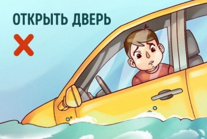 Как выбраться из тонущей машины (8 фото)