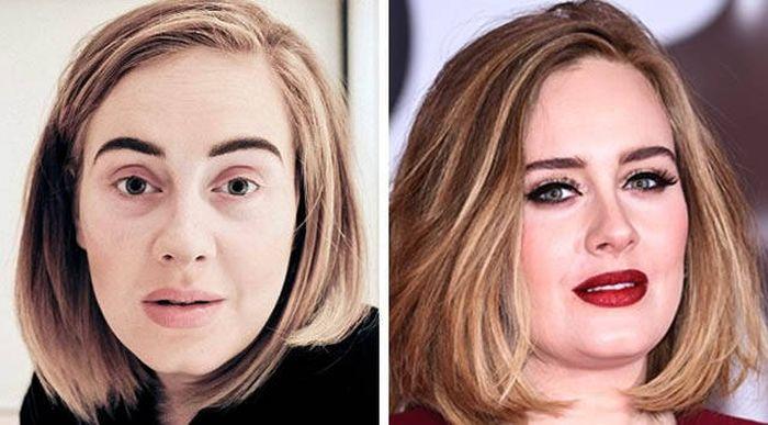 Звезды с макияжем и без (13 фото)